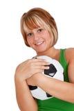 Mulher com esfera de futebol Fotos de Stock Royalty Free