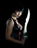 Mulher com espada imagens de stock