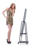 Mulher com espelho Foto de Stock Royalty Free