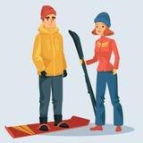 Mulher com esqui e homem no snowboard ilustração stock