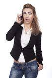 Mulher com expressões ativas imagem de stock