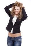 Mulher com expressões ativas foto de stock royalty free