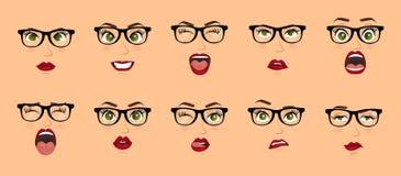 Mulher com expressões faciais dos vidros, gestos, medo da decepção do êxtase da tristeza da aversão da surpresa da felicidade das ilustração do vetor