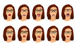 Mulher com expressões faciais dos vidros, gestos, medo da decepção do êxtase da tristeza da aversão da surpresa da felicidade das ilustração stock