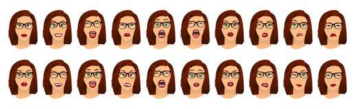 Mulher com expressões faciais dos vidros, gestos, medo da decepção do êxtase da tristeza da aversão da surpresa da felicidade das ilustração royalty free