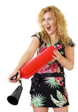 Mulher com extintor de incêndio Imagem de Stock Royalty Free