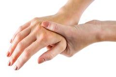 Mulher com ferimento de mão foto de stock royalty free