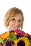 Mulher com flores Imagens de Stock