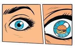 Mulher com fome e hamburguer do storyboard cômico ilustração royalty free