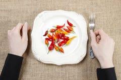 Mulher com fome que come pimentas de pimentão encarnados Símbolo da adaptação a imagem de stock