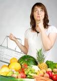 Mulher com fruta & veggies Imagens de Stock