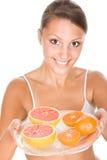 Mulher com frutas Foto de Stock