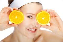 Mulher com frutas fotografia de stock