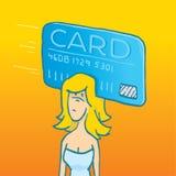 Mulher com furto do cartão em sua cabeça Fotos de Stock
