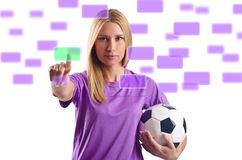Mulher com futebol fotografia de stock royalty free