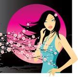 Mulher com galho da cereja Imagens de Stock Royalty Free