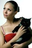 Mulher com gato fotografia de stock