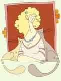 mulher com gatos ilustração do vetor
