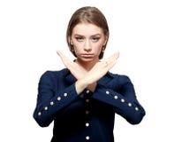 Mulher com gesto de X Fotografia de Stock Royalty Free