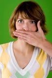 Mulher com gesto do silêncio fotografia de stock
