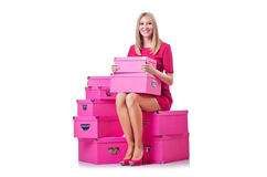 Mulher com giftboxes Imagens de Stock Royalty Free