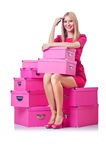 Mulher com giftboxes foto de stock royalty free