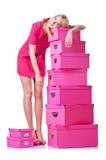 Mulher com giftboxes imagens de stock