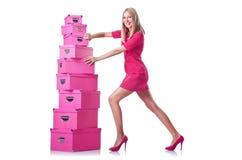 Mulher com giftboxes foto de stock royalty free