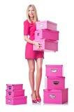 Mulher com giftboxes fotografia de stock