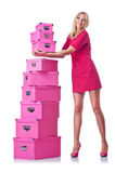Mulher com giftboxes fotos de stock royalty free