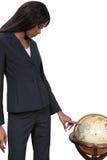 Mulher com globo fotos de stock royalty free