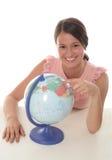 Mulher com globo Imagens de Stock Royalty Free