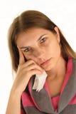 Mulher com gripe, nenhuma composição Imagem de Stock