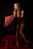 Mulher com guarda-chuva asiático Imagem de Stock Royalty Free