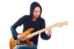 Mulher com guitarra elétrica imagem de stock royalty free