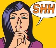 Mulher com ilustração do pop art do sinal do silêncio Imagens de Stock Royalty Free