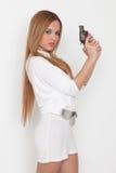 Mulher com injetor Fotografia de Stock Royalty Free