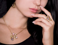 Mulher com jóia Foto de Stock Royalty Free
