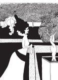 Mulher com jardim ilustração stock
