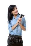 Mulher com jogo da composição e uma escova em sua mão fotos de stock royalty free