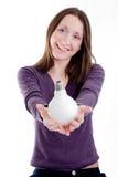 Mulher com lâmpada Imagens de Stock Royalty Free