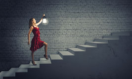 Mulher com lanterna Imagem de Stock