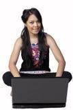 Mulher com lapop Imagem de Stock Royalty Free