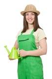 Mulher com lata da água Fotografia de Stock
