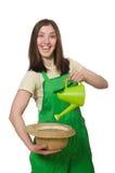 Mulher com lata da água Imagens de Stock