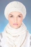 Mulher com lenço e tampão do inverno Imagem de Stock Royalty Free