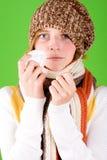 Mulher com lenço e termômetro fotos de stock royalty free