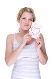 Mulher com letra de amor fotos de stock