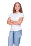 Mulher com levantamento dobrado das mãos Fotos de Stock