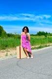 A mulher com levantou-se Imagens de Stock Royalty Free